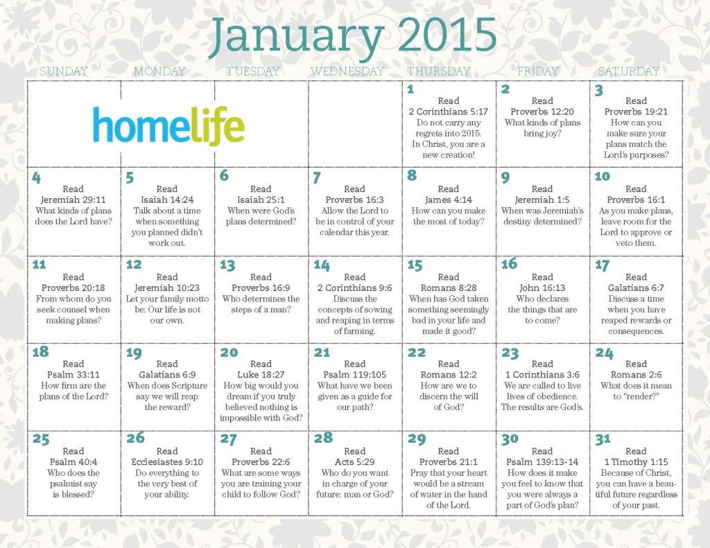 HomeLife January 2015 Calendar