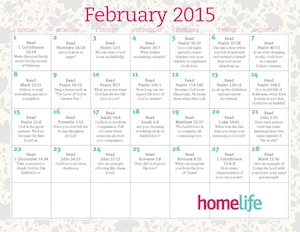 February 2015 Family Time Calendar and Scripture Art