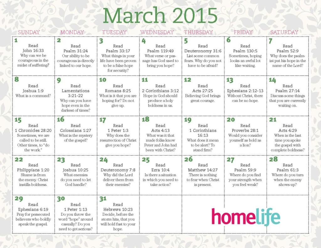 March 2015 HomeLife Calendar