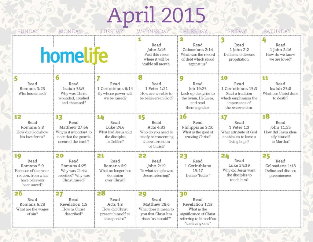 April 2015 HomeLife Family Time Calendar and Scripture Art