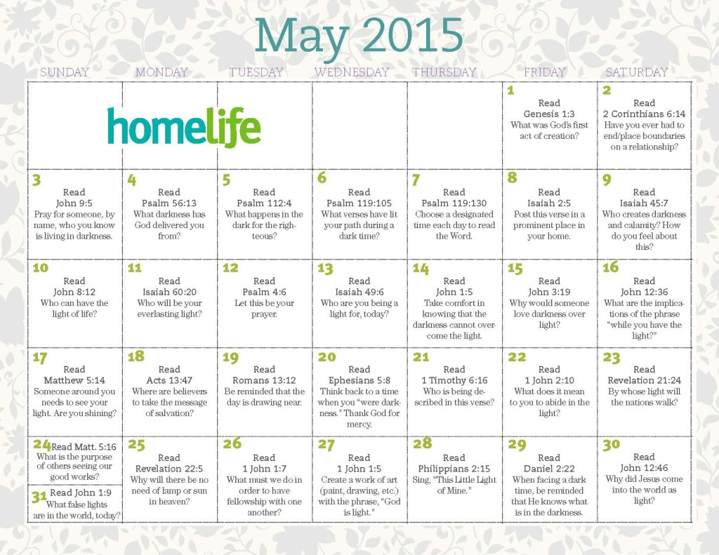 HomeLife May 2015 Calendar