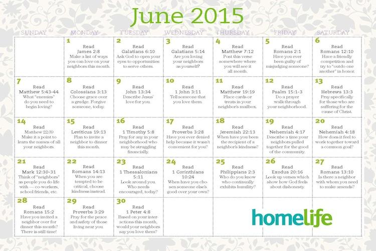 HomeLife June 2015 Family Calendar