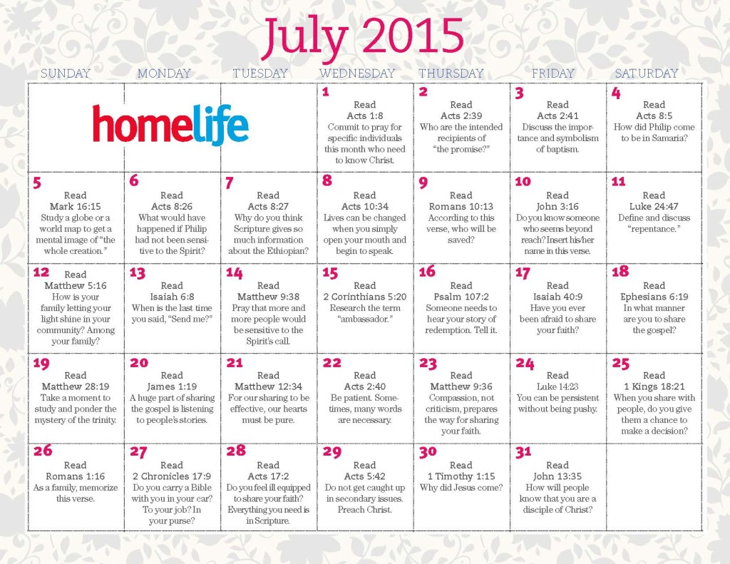 Family Calendar 2015 : July family time calendar and scripture art lifeway