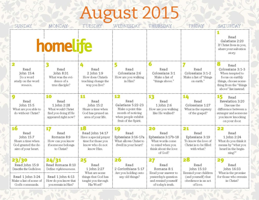 August HomeLife Family Time and Scripture Art