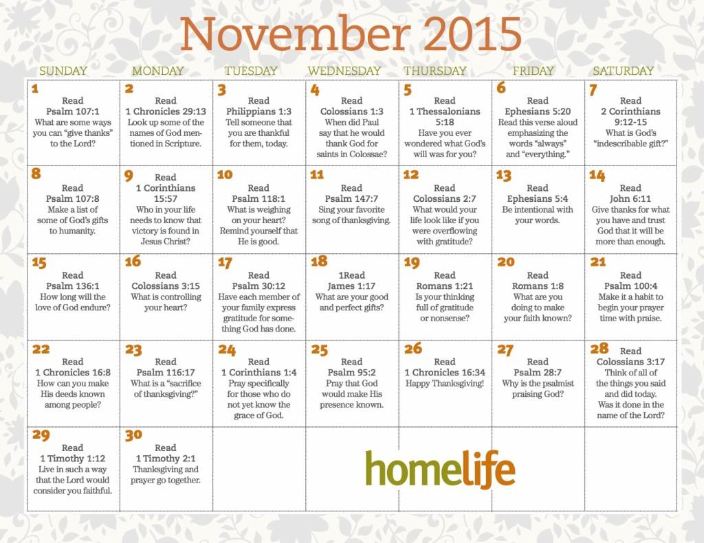 November 2015 HomeLife Family Calendar and Scripture Art