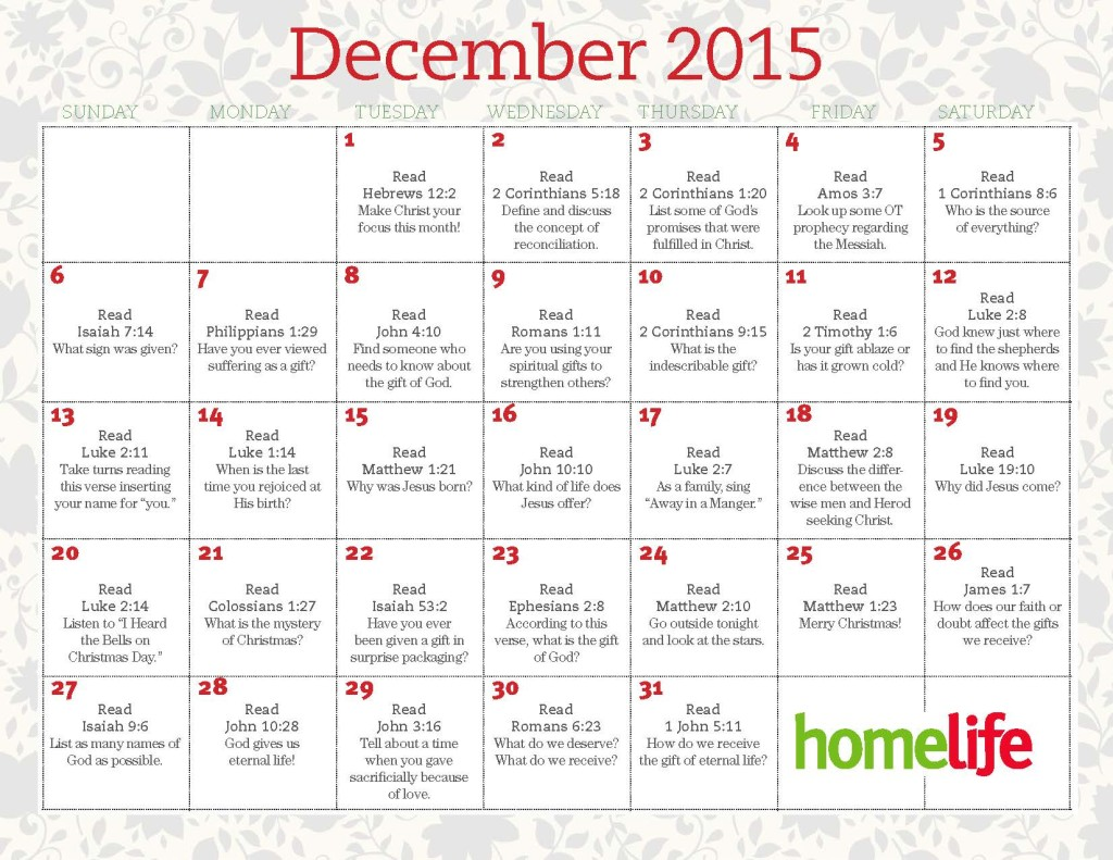 December 2015 HomeLife Family Time Calendar and Scripture Art