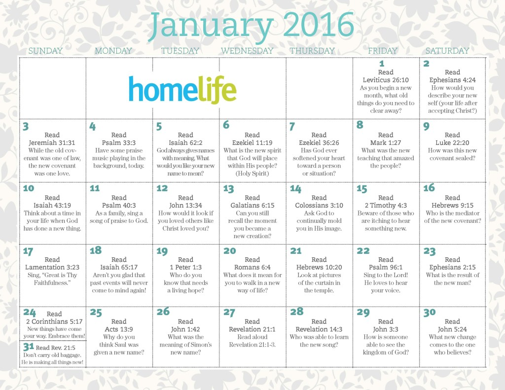 HomeLife Family Time Calendar and Scripture Art | January 2016