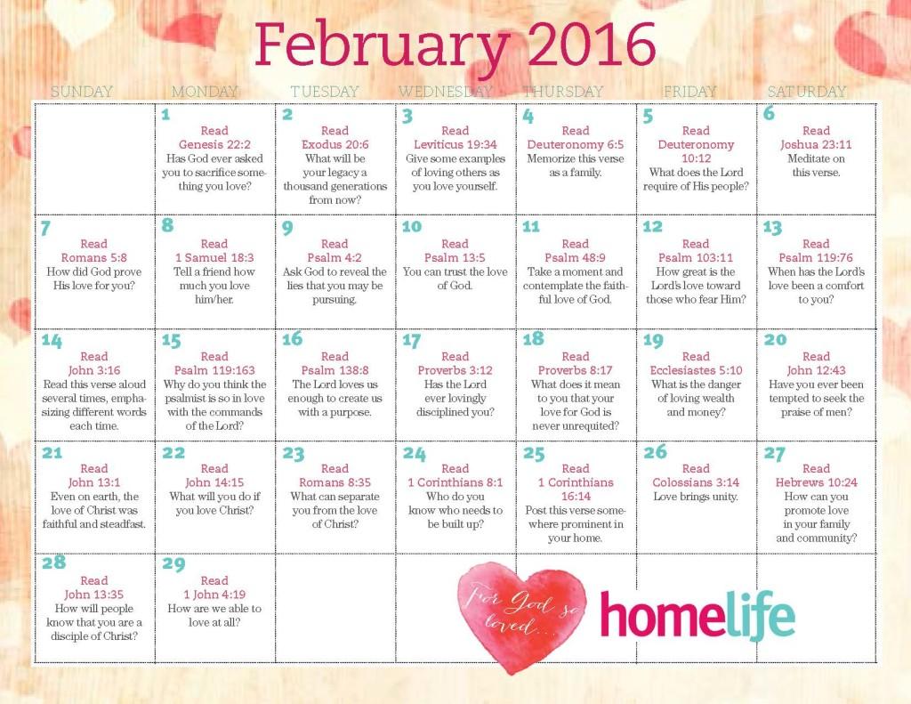 HomeLife Family Time Calendar | February 2016