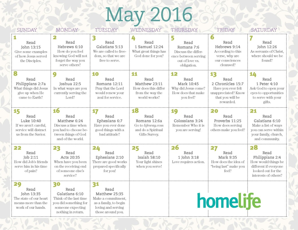 HomeLife Family Time Calendar | May 2016