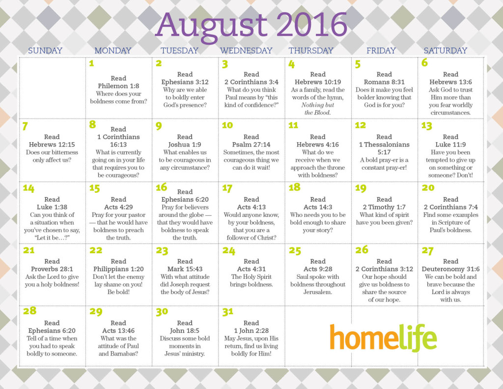 HomeLife Family Time Calendar | August 2016