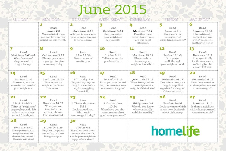 June Family Time Calendar and Scripture Art - LifeWay Women All Access