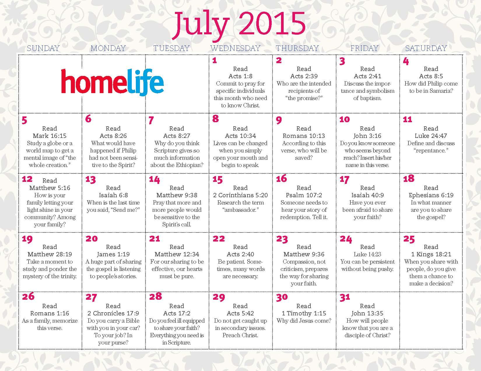 Family Calendar 2015 : July family time calendar and scripture art lifeway