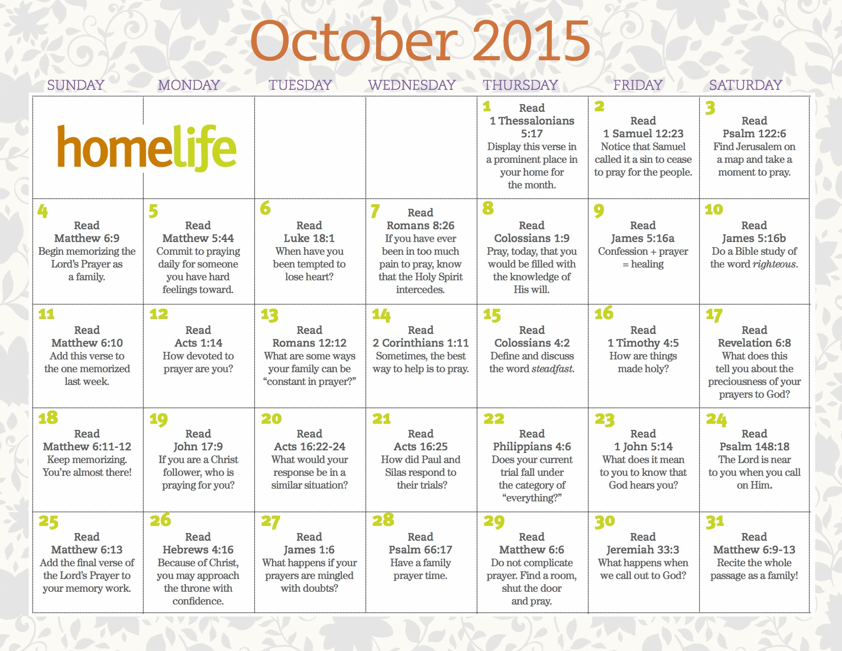 Family Calendars : October homelife family time calendar and scripture