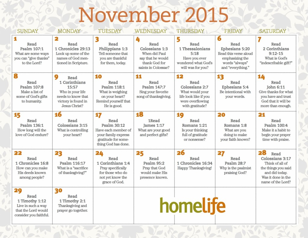 HomeLife November Family Time Calendar copy